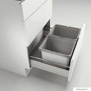 Cox® Box 235 K/600-2, Afvalsysteem voor gangbare uittreksystemen, met biologisch deksel, lichtgrijs