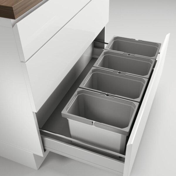 Cox® Box 235 K/900-4, Afvalsysteem voor gangbare uittreksystemen, zonder biologisch deksel, lichtgrijs
