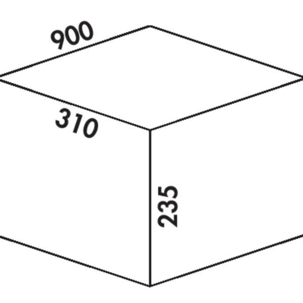 Coxィ Box 235 K/900-4, Afvalverzamelsysteem voor voorhanden uittreksystemen., met biologisch deksel, lichtgrijs