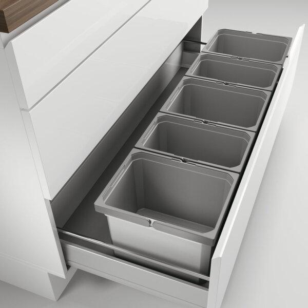 Cox® Box 235 K/1200-5, Afvalsysteem voor gangbare uittreksystemen, zonder biologisch deksel, lichtgrijs