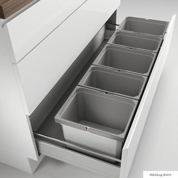 Cox® Box 235 K/1200-5, Afvalsysteem voor gangbare uittreksystemen, met biologisch deksel, lichtgrijs