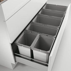 Cox® Box 275 S/1200-6, Afvalsysteem voor gangbare uittreksystemen, lichtgrijs