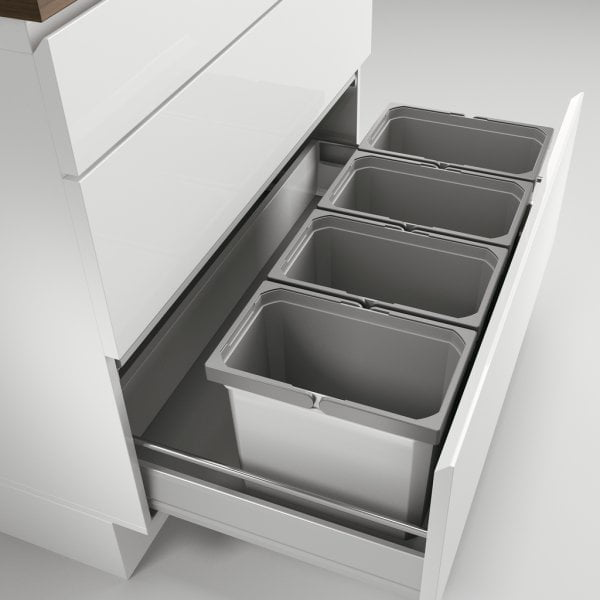Cox® Box 275 K/900-4, Afvalsysteem voor gangbare uittreksystemen, zonder biologisch deksel, lichtgrijs