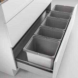 Cox® Box 275 K/1200-5, Afvalsysteem voor gangbare uittreksystemen, zonder biologisch deksel, lichtgrijs