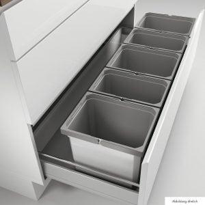 Cox® Box 275 K/1200-5, afvalsysteem voor uittreksystemen, met biologisch deksel, lichtgrijs