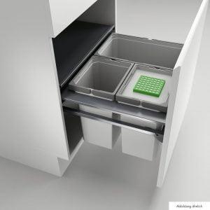 Cox Castィ 600-3, Afvalverzamelsysteem voor vrijstaande container., zonder biologisch deksel, lichtgrijs , H 360 mm