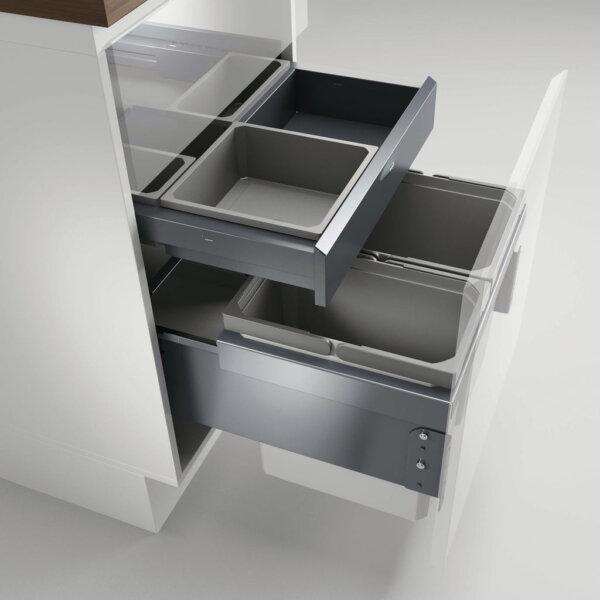 Cox® Base 360 K/500-2 met Base-Board, afvalsysteem voor Frontuittreksysteem, zonder biologisch deksel, lichtgrijs, H 460 mm