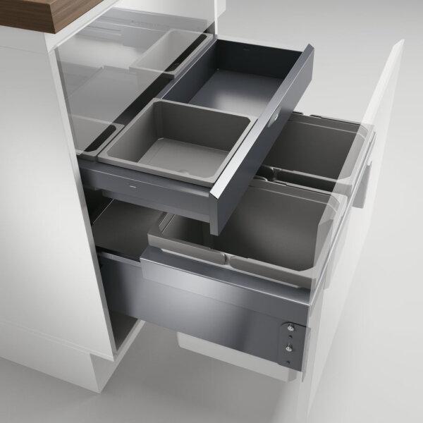 Cox® Base 360 K/600-2 met Base-Board, Afvalverzamelaar met frontuittreksysteem, zonder biologisch deksel, lichtgrijs, H 460 mm