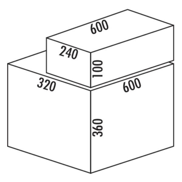 Coxィ Base 360 K/600-2 met Base-Board, Afvalverzamelaar met frontuittreksysteem., zonder biologisch deksel, lichtgrijs, H 460 mm