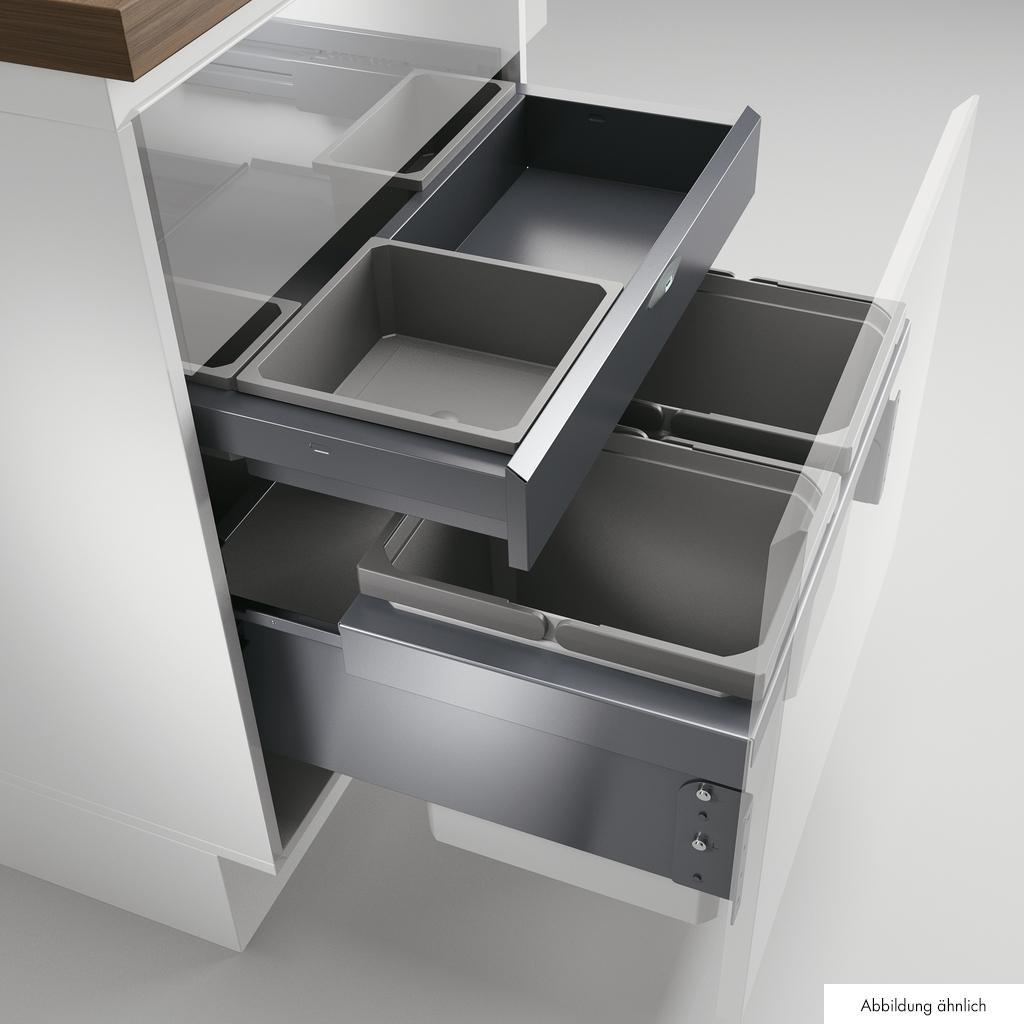 Cox® Base 360 K/600-2 met Base-Board, Afvalverzamelaar met frontuittreksysteem, met biologisch deksel, lichtgrijs, H 460 mm