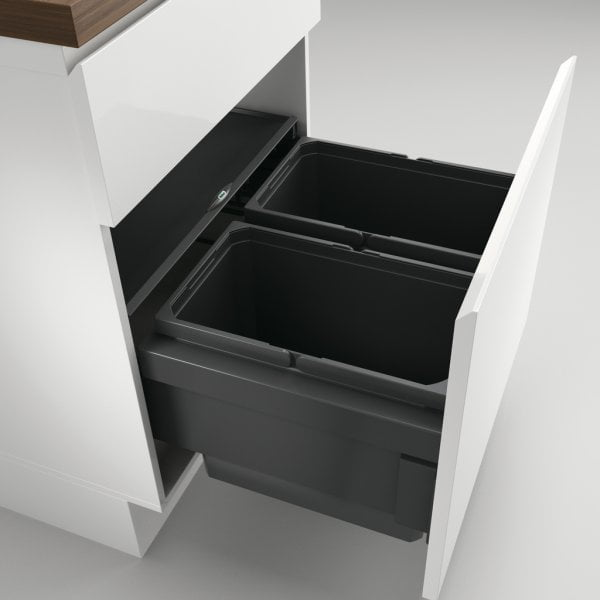 Cox® Base 360 S/600-2, Afvalverzamelaar met frontuittreksysteem, antraciet, H 360 mm