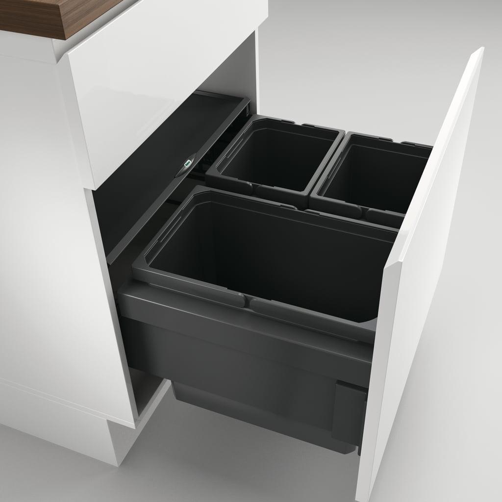 Cox® Base 360 S/600-3, Afvalverzamelaar met frontuittreksysteem, zonder biologisch deksel, antraciet, H 360 mm