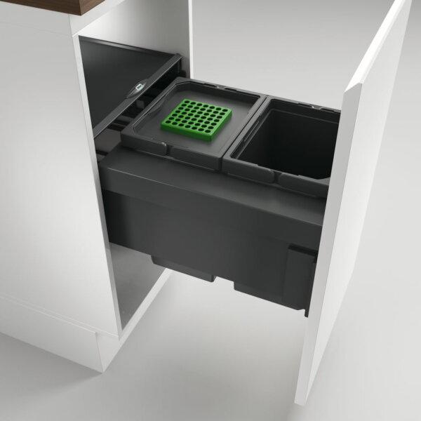 Cox® Base 360 S/400-2, afvalsysteem voor Frontuittreksysteem, met biologisch deksel, antraciet, H 360 mm