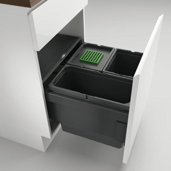 Cox® Base 360 S/500-3, afvalsysteem voor Frontuittreksysteem, met biologisch deksel, antraciet, H 360 mm