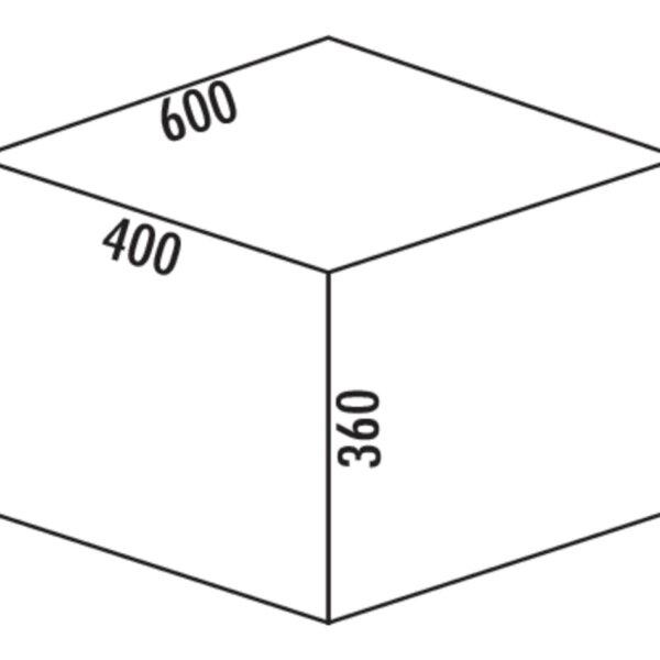 Coxィ Base 360 S/600-3, Afvalverzamelsysteem voor Frontuittreksysteem., met biologisch deksel, antraciet, H 360 mm
