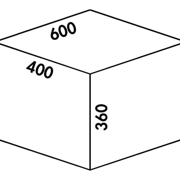 Coxィ Base 360 S/600-4, Afvalverzamelsysteem voor Frontuittreksysteem., zonder biologisch deksel, antraciet, H 360 mm