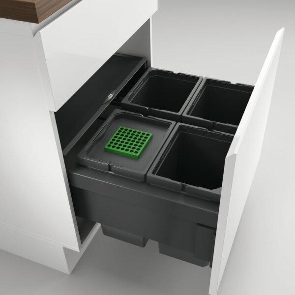 Cox® Base 360 S/600-4, afvalsysteem voor Frontuittreksysteem, met biologisch deksel, antraciet, H 360 mm