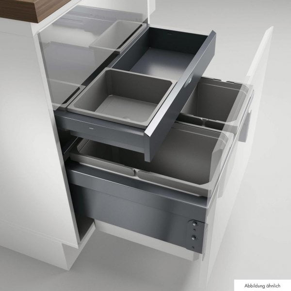 Cox® Base 360 S/600-3 met Base-Board, Afvalverzamelaar met frontuittreksysteem, zonder biologisch deksel, antraciet, H 460 mm