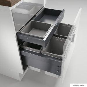 Cox® Base 360 S/600-4 met Base-Board, afvalsysteem voor Frontuittreksysteem, met biologisch deksel, antraciet, H 460 mm