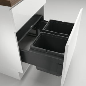 Cox® Base 360 K/600-2, Afvalverzamelaar met frontuittreksysteem, zonder biologisch deksel, antraciet, H 360 mm