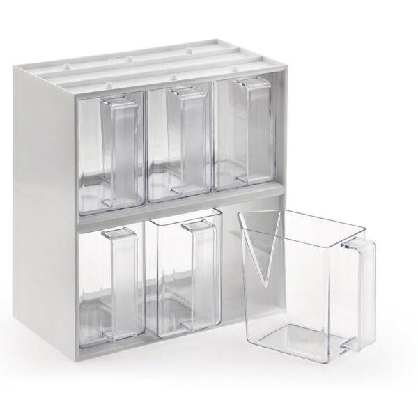 De Luxe 6, Voorraadbak., voorraadbakjes glashelder