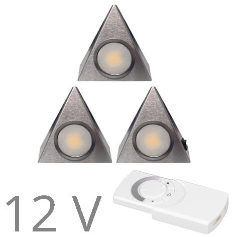90 1117 - FORMA DELTA Mini LED set 12V 3 x 2,4 Watt incl. dimmer / afstandbediening