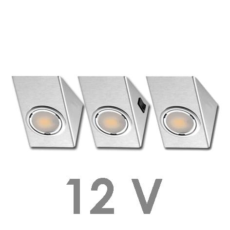 90 1121 - FORMA OMEGA LED-set 12V 3 x 2,4 Watt Inclusief centraalschakelaar