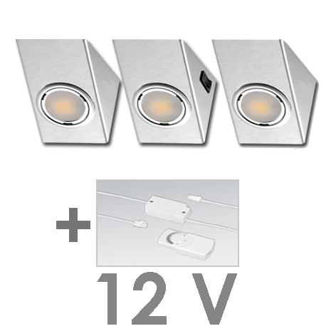 90 1125 - FORMA OMEGA LED-set 12V 3 x 2,4 Wattincl. dimmer / afstandbediening