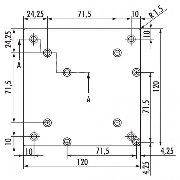 Rhodos 1, Console, roestvrij staalkleurig, H 230 mm