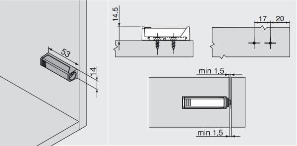 956.1201 Blum TIP-ON houder kort GRIJS