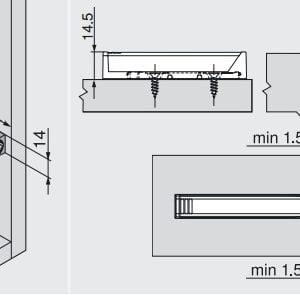 956A1201 Blum TIP-ON houder lang ZWART