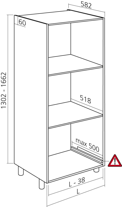 Verrassend Halfhoge kast, wit, H1300mm, Zelfbouwpakket - KAST en KEUKEN QC-14