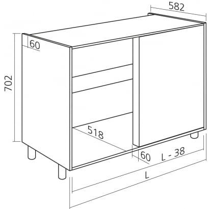 Hoekkast keukenkast zelfbouw H702mm