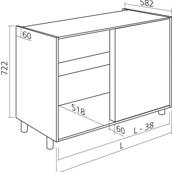 Hoekkast keukenkast zelfbouw H722mm