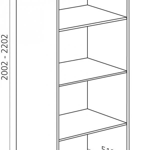 Halfhoge kast, kleur wit, H1300mm, Keukenkasten zonder front,