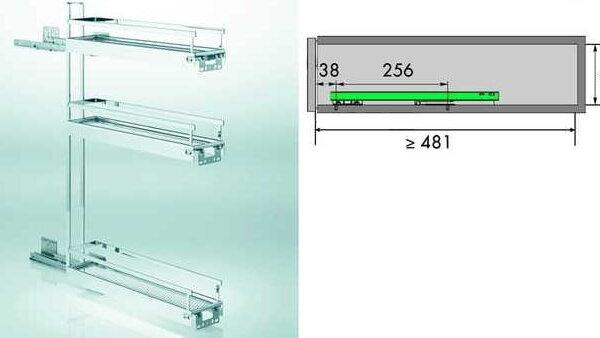 Uittrekelement 3 niveaus voor kast 15cm breed STYLE