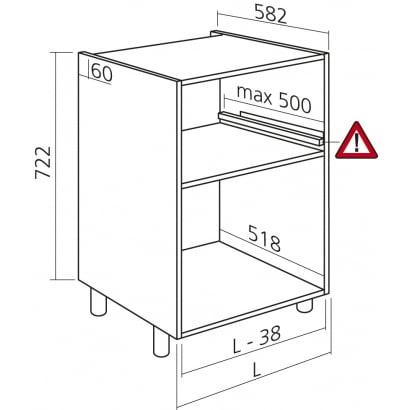 Onderkast Tot 60cm Kleur Wit H722mm Keukenkasten Zonder Front