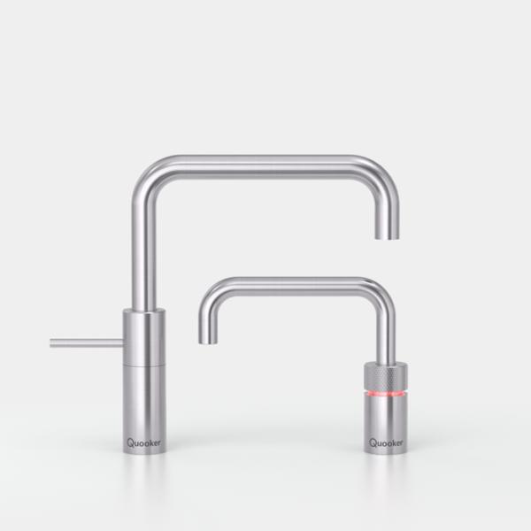 Quooker COMBI+ en CUBE Nordic Square Twintaps  Steel