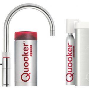 Quooker COMBI+ en CUBE Fusion Round  Steel