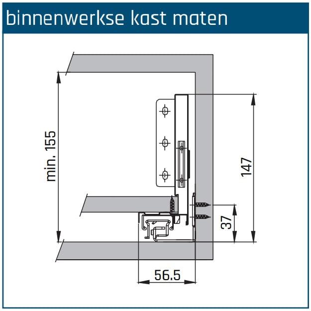 SLIMBOX lade op maat H120mm inbouwhoogte detail