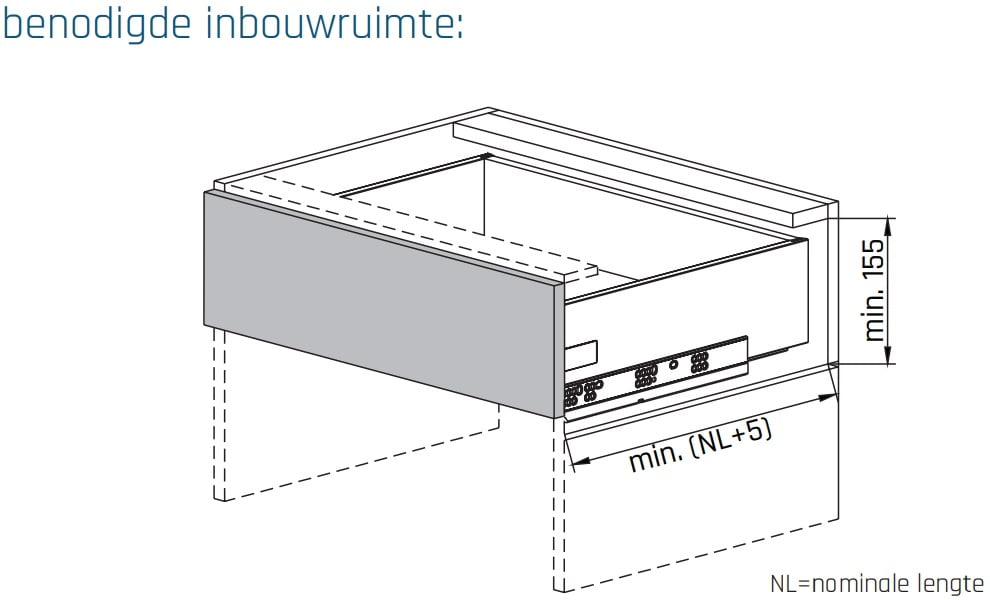 SLIMBOX lade op maat H120mm inbouwmaten