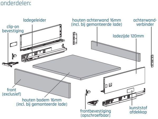 SLIMBOX lade op maat H120mm set detail