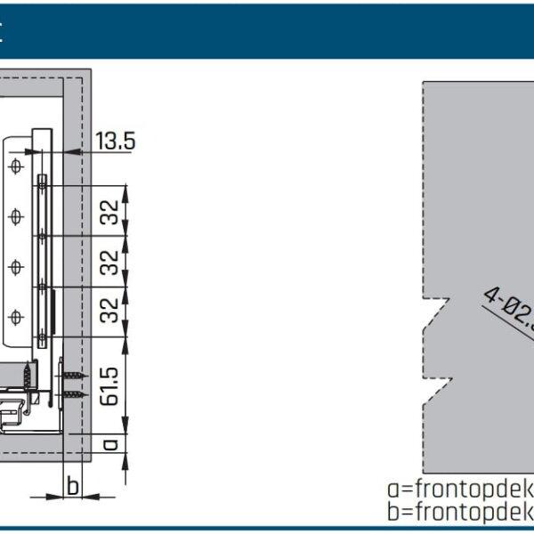SLIMBOX lade op maat H170mm boormaten frontmontage
