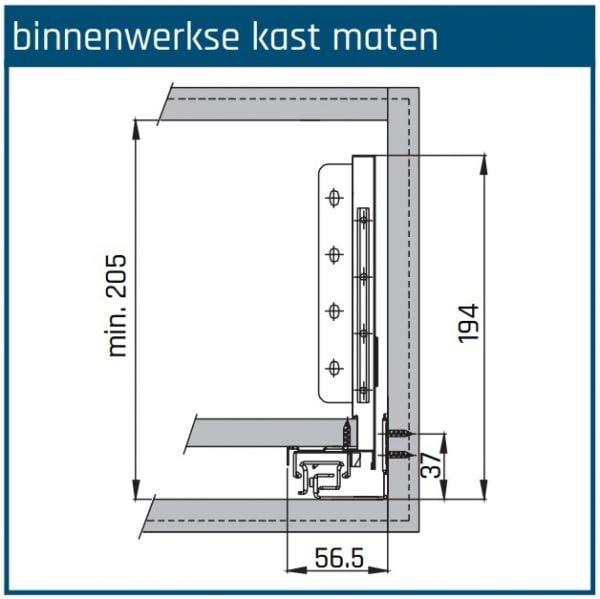 SLIMBOX lade op maat H170mm inbouwhoogte detail
