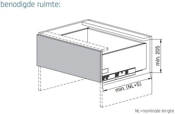 SLIMBOX lade op maat H170mm inbouwmaten