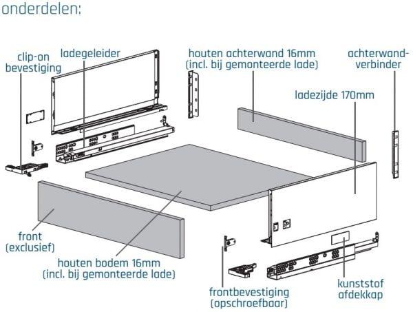 SLIMBOX lade op maat H170mm set detail