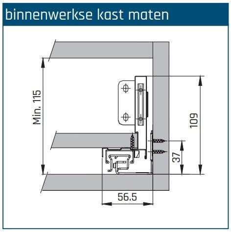 SLIMBOX lade op maat H80mm inbouwhoogte detail