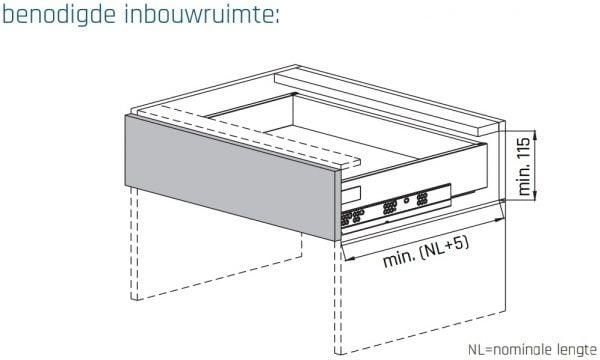 SLIMBOX lade op maat H80mm inbouwmaten