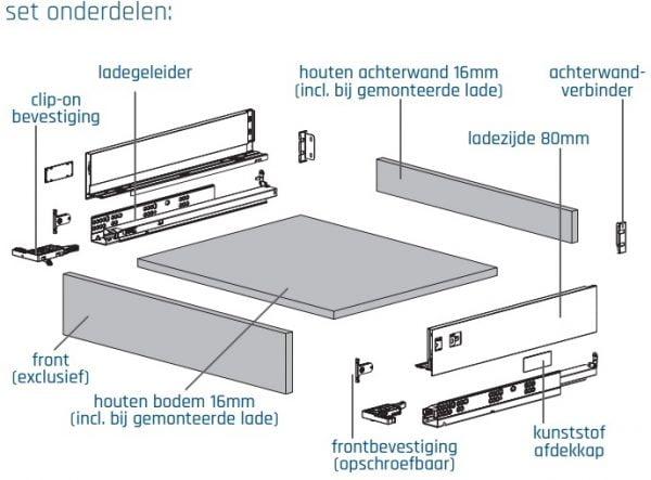 SLIMBOX lade op maat H80mm set detail