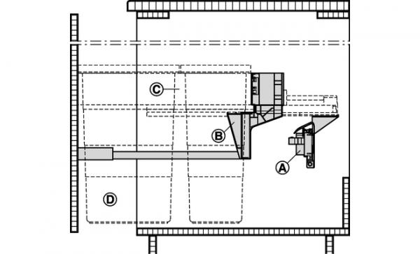 Blum SERVO DRIVE Uno hangende lade (ladegeleiders halverwege kast)